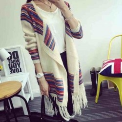 Folk Fringed Shawl Knitwear Coat Cardigan Sweater