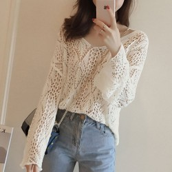 Collar Flare Long-sleeved Hollowed-out Fashion Girl's Spread See-through Irregular Sweater