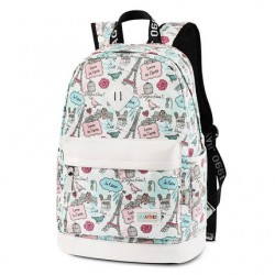 Cute Canvas Travel Bag School Rucksack Sweet Cartoon Eiffel Tower School Backpack
