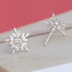Cute Snowflake Crystal Mini Shining Christmas Style Girl's Silver Earring Studs