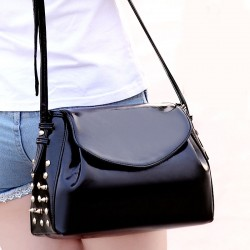 Retro Patent Leather Rivet Messenger Bag
