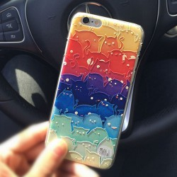 Gradient Color Cartoon Cat Relief Animals IPhone 5/5s/6/6p Cases