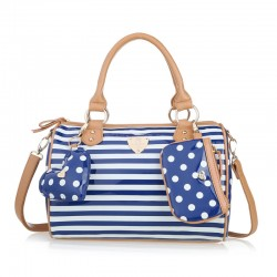 Ladies Navy Stripe Polka Dot Shoulder Bag Messenger Bag Handbag