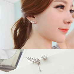 Fashion Lovely Leaves Asymmetric Zircon S925 Sterling Silver Earring