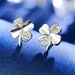 Shining Four-leaf Clover Lucky Clover Simple Silver Diamond-embedded Mini Cute Girl's Earring Studs