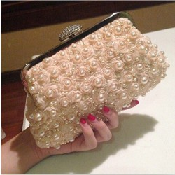 Diamond Buckle Rose Sweet Pearl Beaded Prom Evening Handbag Wedding Bag Party Clutch
