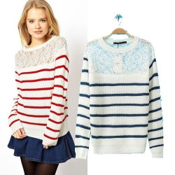 Hollow Out Lace Jointed Striped Sweater