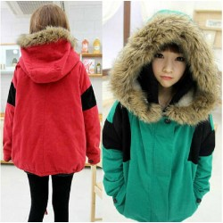 Fresh Patch Fur Collar Cotton-Padded Wool Coat