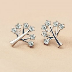 Cute 925 Silver Creativity Tree Women Rhinestone Earrings Studs