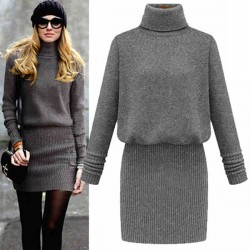 Slim High Collar OL Sweater Dress