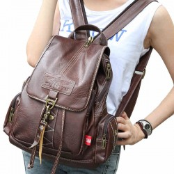 Retro Brown Button Preppy Backpack School Bag PU Rucksack