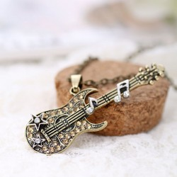 Fashion Rock Music Guitar Bass Notes Diamond Pendant Necklace