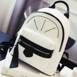 Leisure Mini Satchel PU Rucksack Contrast Color Girl Small Shopping Backpack