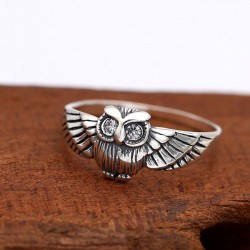 Retro Personality Thai Silver Owl Animal Crystal Women Ring