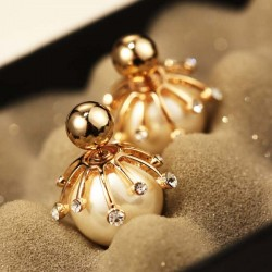 Elegant Diamond-bordered Pearl Bulb Silver Women Earring Studs