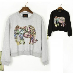 New Style Of Classic Elephant Printed Round Neck Sweater