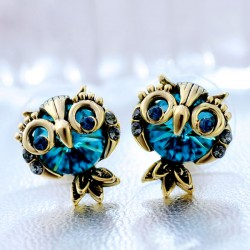 Original Lovely Owl Crystal Earrings