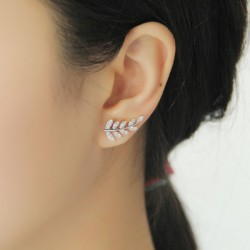 Fashion Stars Leaves Diamond Rhinestone Shining Women Ear Row Earrings Studs
