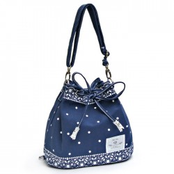 Fresh Bow Lace Polka Dot Drawstring Shoulder Bag Messenger Bag Backpack