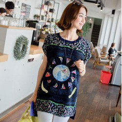 Fashion Lovely Sailboat Pattern Round Neck Short Sleeve Loose T-shirt