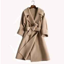 Fashion Double-sided Hand-sewn Tailored Collar Cashmere Woolen Coat Women Jacket