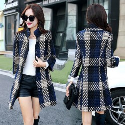 New Winter Lattice Weaving Women Overcoat Stand Collar Gird Wool Bodycon Coat Jacket