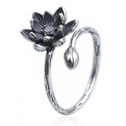 Vintage Vivid Stereo Lotus Flower Old Way Silver Women Open Ring