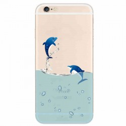 Couple Dolphin Transparent Thin Soft Silica Gel Iphone Cases For 5/5S/6/6Plus