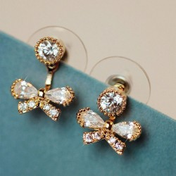 Shining Crystal Bow Fresh Sweet Lady Back Hang Earrings