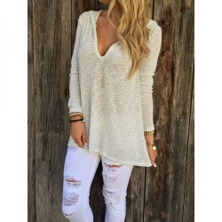Deep V Collar Casual Comfortable Hooded Knit T-shirt Sweater