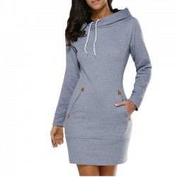 Simple Pure Color Hooded Pullover Silm Women Autumn Long Sleeves Sweater Dress