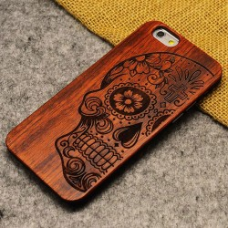 Skeletons Bone Flower Totem Crude Wood Thin Case For Iphone 5/5S/6/6Plus