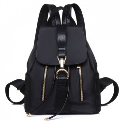 Summer Simple Waterproof Oxford Splicing PU Draw String Flap Black Leisure College Backpacks