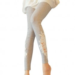 Springy Cotton Stitching Hollow Crochet Lace Leggings