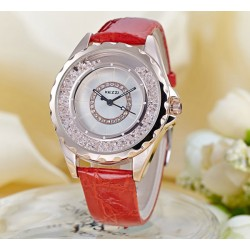 Elegant Flowing Rhinestone Leather Belt Woman Watch