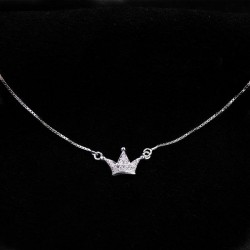 Diamond Mini Imperial Crown Pendant Silver Delicate Necklace