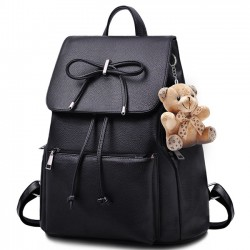 Elegant Bear Doll PU Flap Draw String Large Capacity Bow College Backpacks