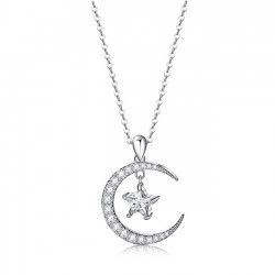 Cute Moon Star Crystal Pendant Rhinestone Women Necklace