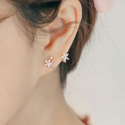 Fashion Lady Arc Hook Flower Silver Earring Studs