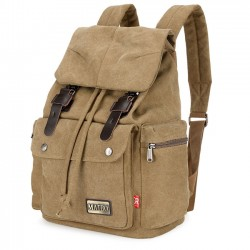 Retro Student Rucksack Men's Travel Bag Large Canvas School Camping Backpack