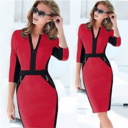 Bodycon Zipper Middle Sleeve Red Dresses