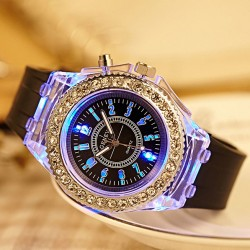 Personality Rhinestone Luminous Colored Lights Watches