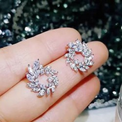 Fashion Shining Spiral Circular Leaves Olive Branch Rhinestone Lady Earrings Studs