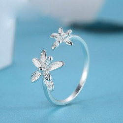 Double Flowers Fresh Adjustable Opening Sterling Silver Ring