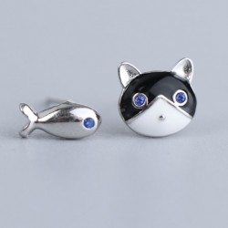 Unique Cat Fish Oil-spot Glaze Silver Girl's Earring Cute Different Animal Earrings Studs