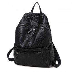 Leisure Black Soft Leather Ladies Simple Large School Backpack
