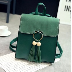New British Pure Color PU Tassel Circular Ring School Backpack