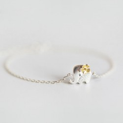 Sweet Mini Yellow Flower Silver Cute Elephant Chain Bracelet