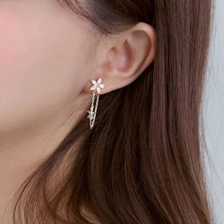 Sweet 925 Sterling Silver Flower Threader Tassel Chain Women Earring Studs