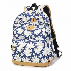 Women Girl Fresh Retro Lovely Floral Flower School Book Campus Bag Canva Backpack